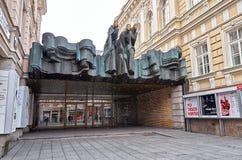 lithuania Teatro nacional do drama de Vilnius 31 de dezembro de 2017 Imagem de Stock