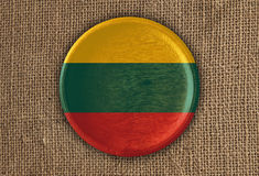 Lithuania Textured Round Flag wood on rough cloth Stock Photos