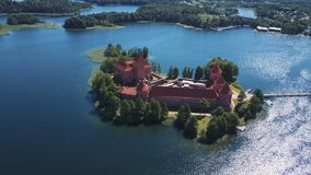Lithuania. Trakai. Beautiful castle on the lakes. Aerial view of Trakai castle in summer season. Trakai castle, Lithuania. Beautiful aerial view in summer stock footage