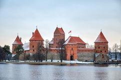 Lithuania. Trakai Castle on Lake Galve in Lithuania. December 31, 2017 royalty free stock image