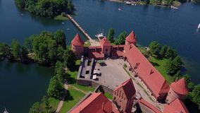 Lithuania Trakai castle on the lakes video. Lithuania Trakai castle on the lakes aerial video from drone stock video footage