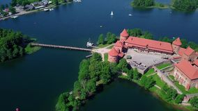 Lithuania Trakai castle on the lakes video. Lithuania Trakai castle on the lakes aerial video from drone stock video