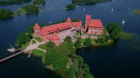 Lithuania Trakai castle on the lakes video. Lithuania Trakai castle on the lakes aerial video from drone stock footage