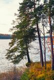 Lithuania, Trakai 2017. 10. 19 Galve lake, beautiful autumn day, autumn colors, autimn tree with green and yellow leafs. Royalty Free Stock Image