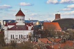 lithuania vilnius Flyg- sikt på Vilnius Panorama av Vilnius: Den Gediminas slotten, den gamla staden och annan anmärker Royaltyfri Fotografi