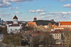 lithuania vilnius Flyg- sikt på Vilnius Panorama av Vilnius: Den Gediminas slotten, den gamla staden och annan anmärker Arkivbild