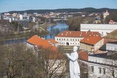 lithuania vilnius Flyg- sikt på Vilnius Panorama av Vilnius: Den Neris floden, den gamla staden och annan anmärker Royaltyfria Bilder