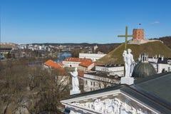 lithuania vilnius Flyg- sikt på Vilnius Panorama av Vilnius: Den Neris floden, den gamla staden och annan anmärker Fotografering för Bildbyråer