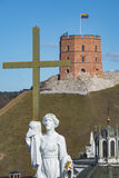 lithuania vilnius Flyg- sikt på Vilnius Panorama av Vilnius: Gediminas slott Arkivfoton