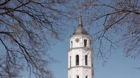 lithuania vilnius Fyrkantig near domkyrkabasilika för domkyrka av St Stanislaus And St Vladislav With det Klocka tornet in arkivfilmer