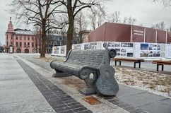 Lithuania. Monument to a bench with a guitar in memory of Vytautas Kernagis on Gidemin street. December 31, 2017 royalty free stock image