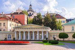 Lithuania, Vilnius 2018-08-31, Presidential palace courtyard, the official residence of the President. stock image