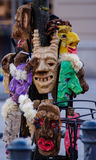 2017-02-25 Lithuania, Vilnius, Shrovetide, mask for carnival, february carnival, green, grey masks evil mask. Stock Photo