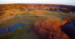 Lithuanian aerial. Lithuanian landscape of forest and lakes, aerial view or view from bird`s sight Stock Photography