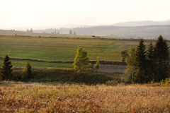 Lithuanian autumn countryside landscape. During sunset or sunrise Royalty Free Stock Images