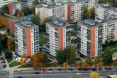 Lithuanian capital bird eye view Royalty Free Stock Images