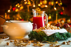 Lithuanian Christmas Sweets. Traditional Christmas eve treats including kuciukai pastries, cranberry kissel and poppy seed milk stock photography