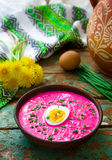 The Lithuanian cold  beetroot soup Royalty Free Stock Photography