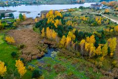 Lithuanian countryside. Aerial view in fall Stock Photos