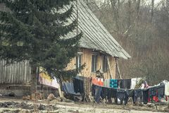 Wooden house and laundry. Lithuanian countryside village, wooden house and laundry royalty free stock photography