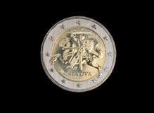 Lithuanian 2 euro coin. Isolated on black Royalty Free Stock Image