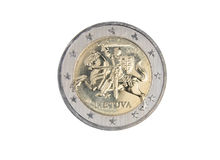 Lithuanian 2 euro coin. Isolated on white Royalty Free Stock Photography