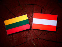 Lithuanian flag with Austrian flag on a tree stump  Stock Image
