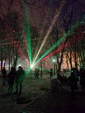 A Lithuanian flag colors laser show celebrating centenary of independance of Lithuania on 16th of February, 2018 Royalty Free Stock Image