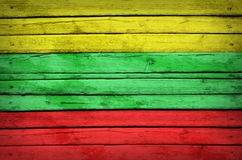 Lithuanian flag painted on wooden boards Royalty Free Stock Photography