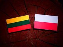 Lithuanian flag with Polish flag on a tree stump isolated. Lithuanian flag with Polish flag on a tree stump royalty free illustration
