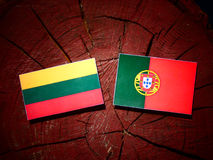 Lithuanian flag with Portuguese flag on a tree stump isolated. Lithuanian flag with Portuguese flag on a tree stump vector illustration