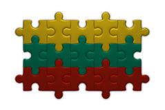 Lithuanian flag of puzzle pieces Stock Photos