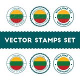 Lithuanian flag rubber stamps set. Royalty Free Stock Photos