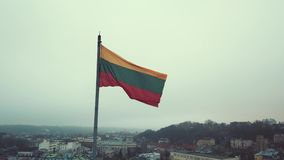 Lithuanian flag in the wind stock footage