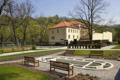 Lithuanian folk cultural center spring landscape Stock Photo