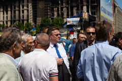 Lithuanian Foreign Minister Linas Linkevicius meets with protesters on Independence Square in Kiev Stock Photo