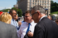 Lithuanian Foreign Minister Linas Linkevicius meets with protesters on Independence Square in Kiev Stock Image