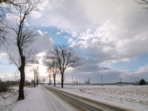 Lithuanian highroad in winter Royalty Free Stock Image