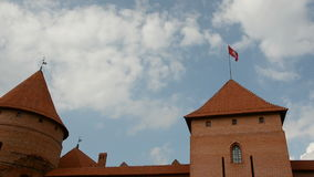 Lithuanian historical  medieval kings castle Trakai. Towers stock video