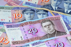 Lithuanian money. Lithuanian different money on a table surface Stock Photos