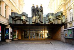 Lithuanian National Drama Theater on Gediminas Avenue Royalty Free Stock Images