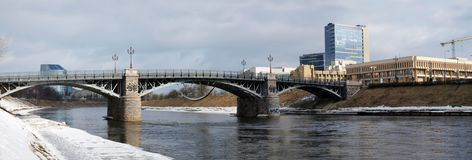 Lithuanian parliament, old bridge and river Stock Photo