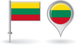 Lithuanian pin icon and map pointer flag. Vector Stock Photo