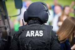 Lithuanian Police Anti-terrorist Operations Unit ARAS officer. VILNIUS, LITHUANIA - MAY 17: Lithuanian Police Anti-terrorist Operations Unit ARAS officer during Royalty Free Stock Image