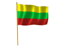 Lithuanian silk flag. Silk flag of Lithuania Stock Photo