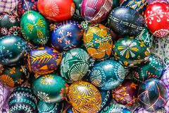 Lithuanian traditional Easter eggs painted with bees beewax royalty free stock photo