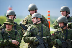 Lithuanian Troops during Public and Military Day Festival. VILNIUS, LITHUANIA - MAY 17: Lithuanian Troops during Public and Military Day Festival held by the Stock Photos