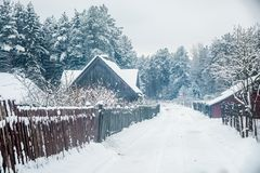 Lithuanian village countryside in winter Stock Image