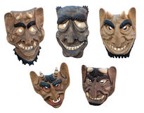 Lithuanian wooden masks Stock Images