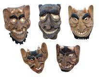 Lithuanian wooden masks. LIthuanian folk art - traditional wooden masks of devils Stock Images